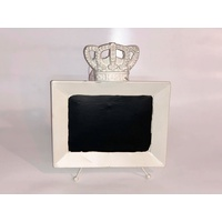 White Metal Table Stand 22x15cm Chalkboard
