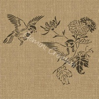 Gemini Creative Birds and Flower Stencil 35cm wide