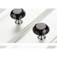 Crystal 30mm Knobs x 1 Black Knob