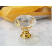 Crystal 40mm Knobs x 1 Clear Knob - Gold Base