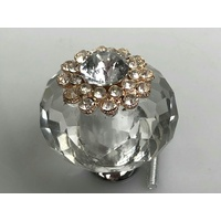 Crystal 45mm Knobs x 1 Diamond Look Clear Silver Base