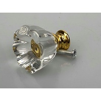 Crystal 30mm Knobs x 1 Clear Flower Look Knob Gold Base
