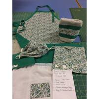 Green - Artists Apron Gift Set Heavy Duty Cotton Drill Australian Made