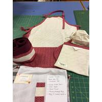 Red - Artists Apron Gift Set Heavy Duty Cotton Drill Australian Made
