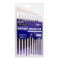 Mont Marte Studio Flat Artist Brushes 12pcs