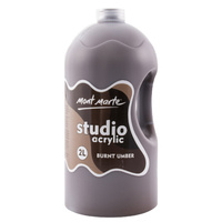 Mont Marte Signature Studio Acrylic Paint 2 Litre Pump - Burnt Umber