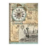 Stamperia A3 Rice Paper Voyages Fantastiques Clock