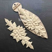 WoodUBend Pack of Two Flower Leaf Pediments WUB1221 26 x 10cm